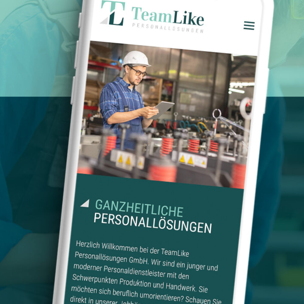 TeamLike Personalloesungen WordPress Website Home Mobil