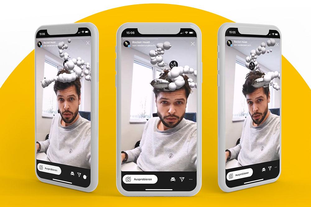 3 Smartphones mit Person die Facefilter nutzt