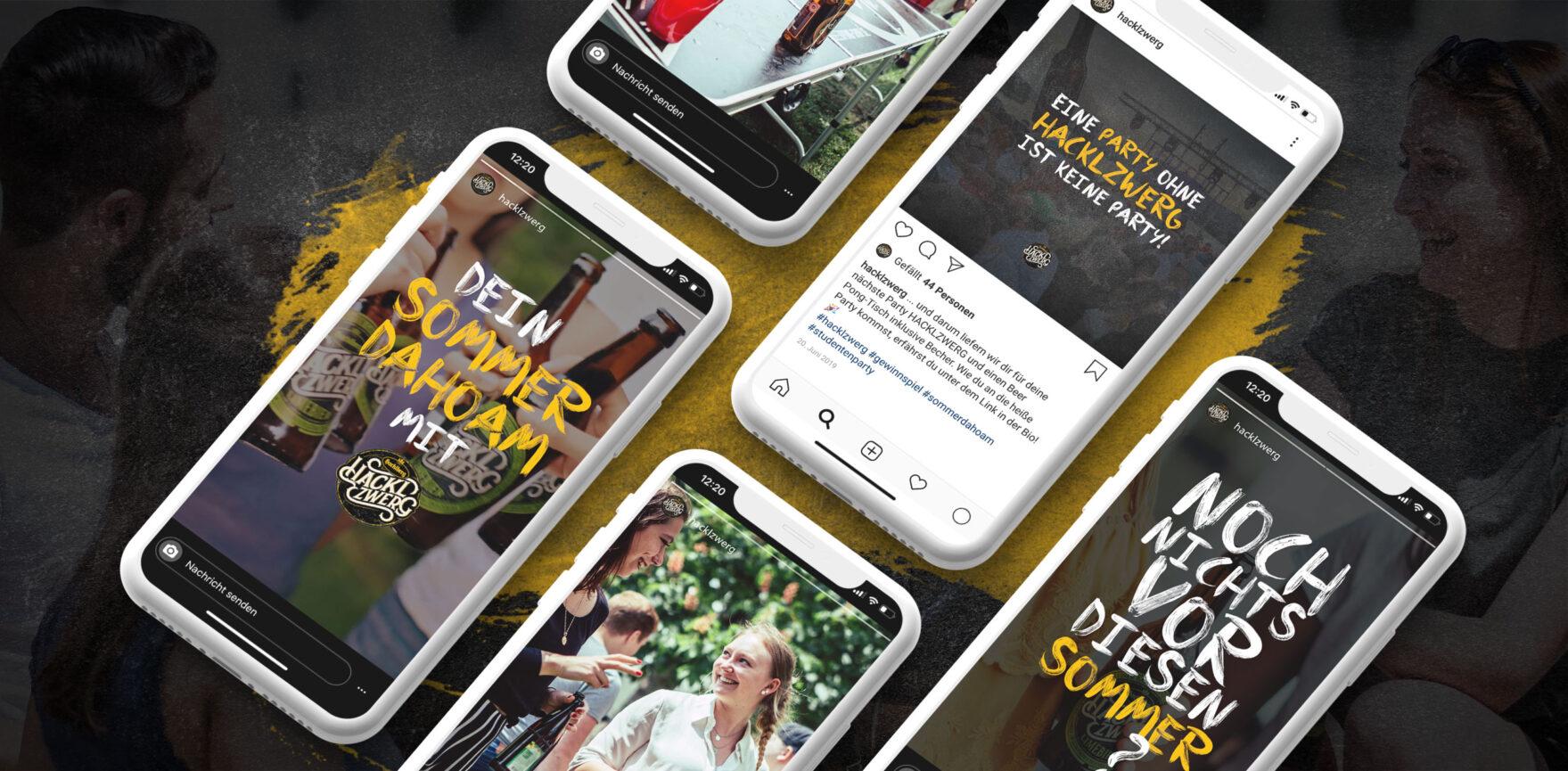 Brauerei Hackzwerg organische Social Media Postings Facebook und Instagram Feed und Story