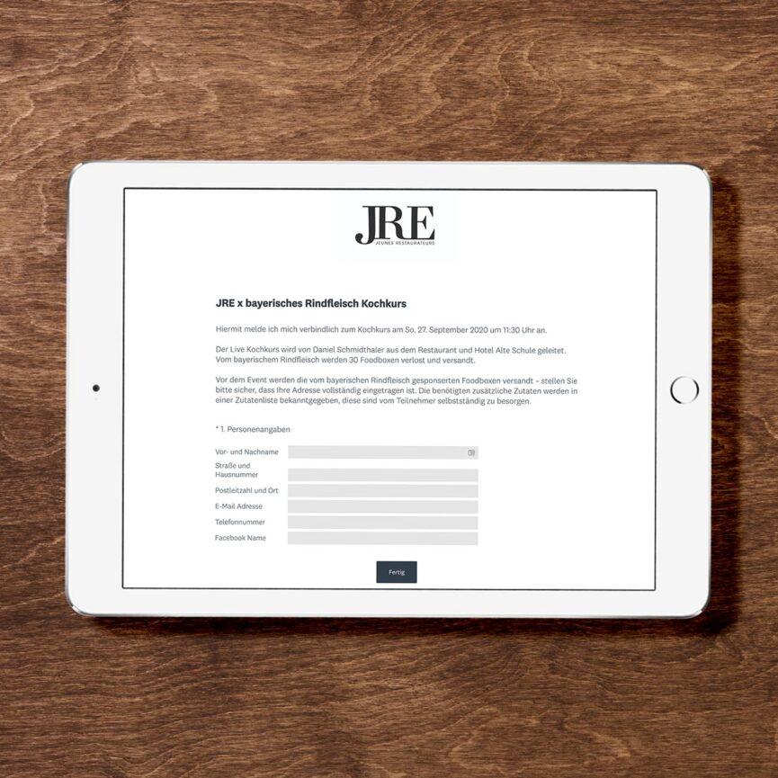 JRE Deutschland Online Kochkurs mit Daniel Schmidthaler Anmeldemaske Veranstaltung