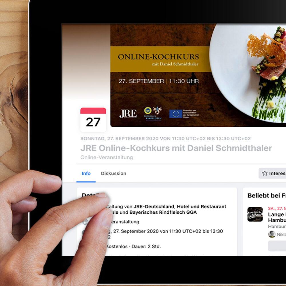 JRE Deutschland Online Kochkurs mit Daniel Schmidthaler Veranstaltung Tablet