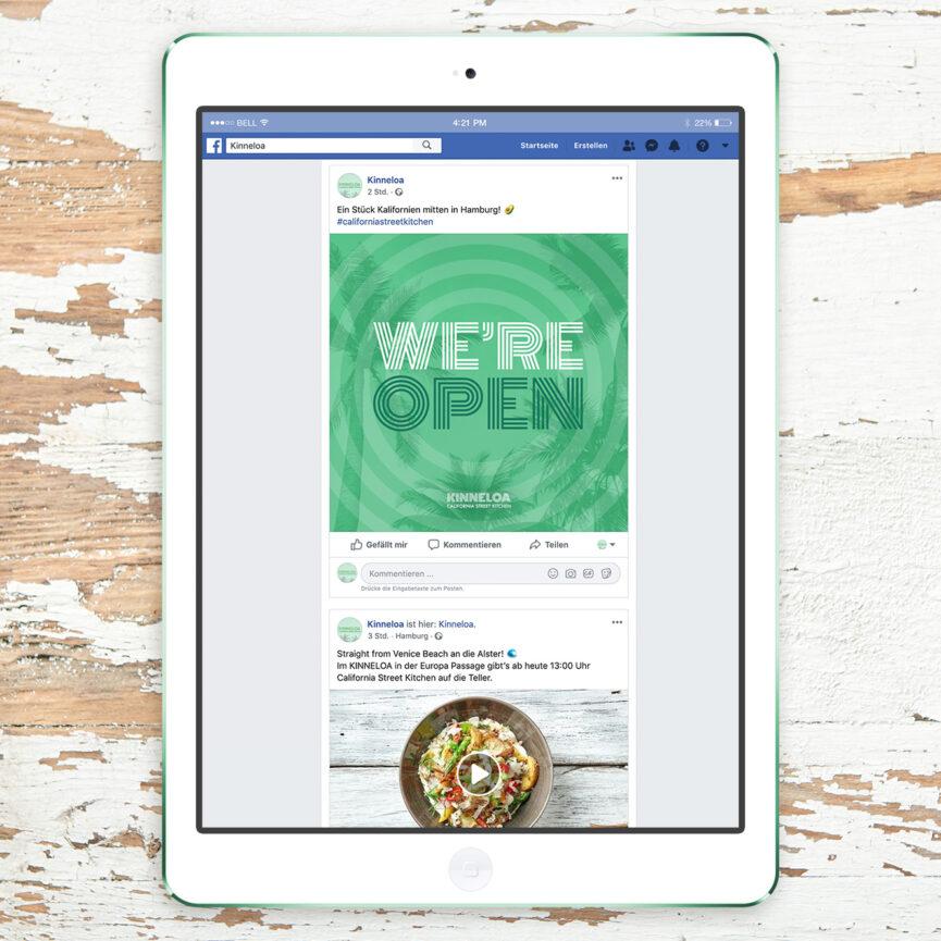 iPad mit KINNELOA Facebook Seite