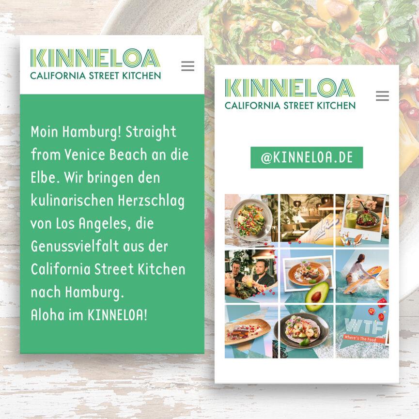 Mobile Ansicht KINNELOA Website mit Instagram Grid