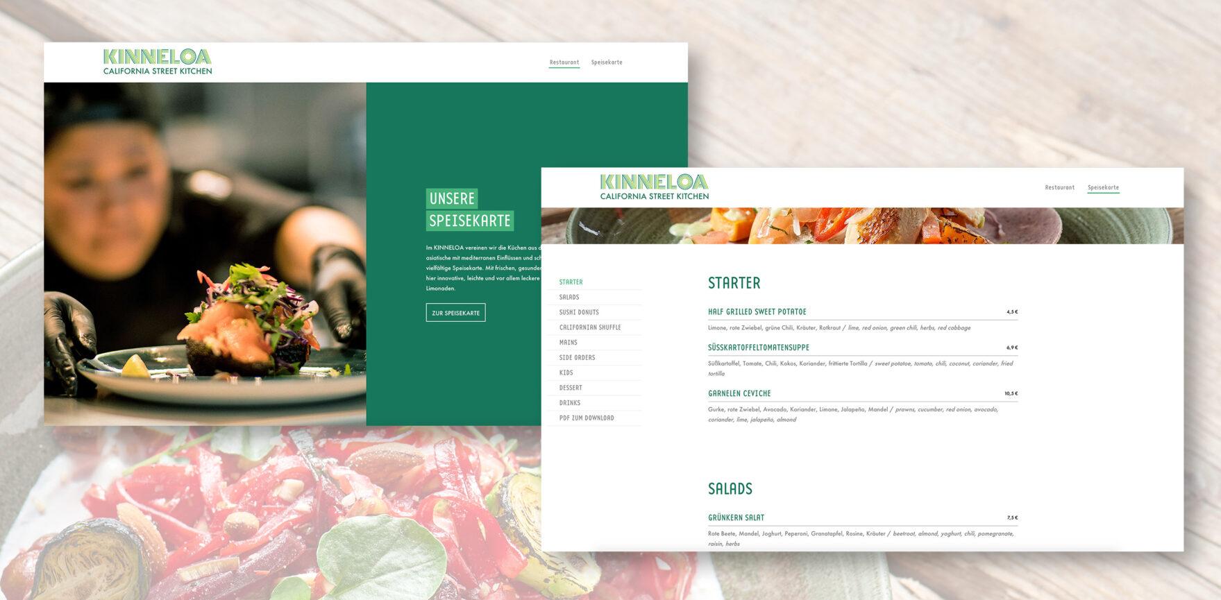 Website Ansicht KINNELOA Speisekarte