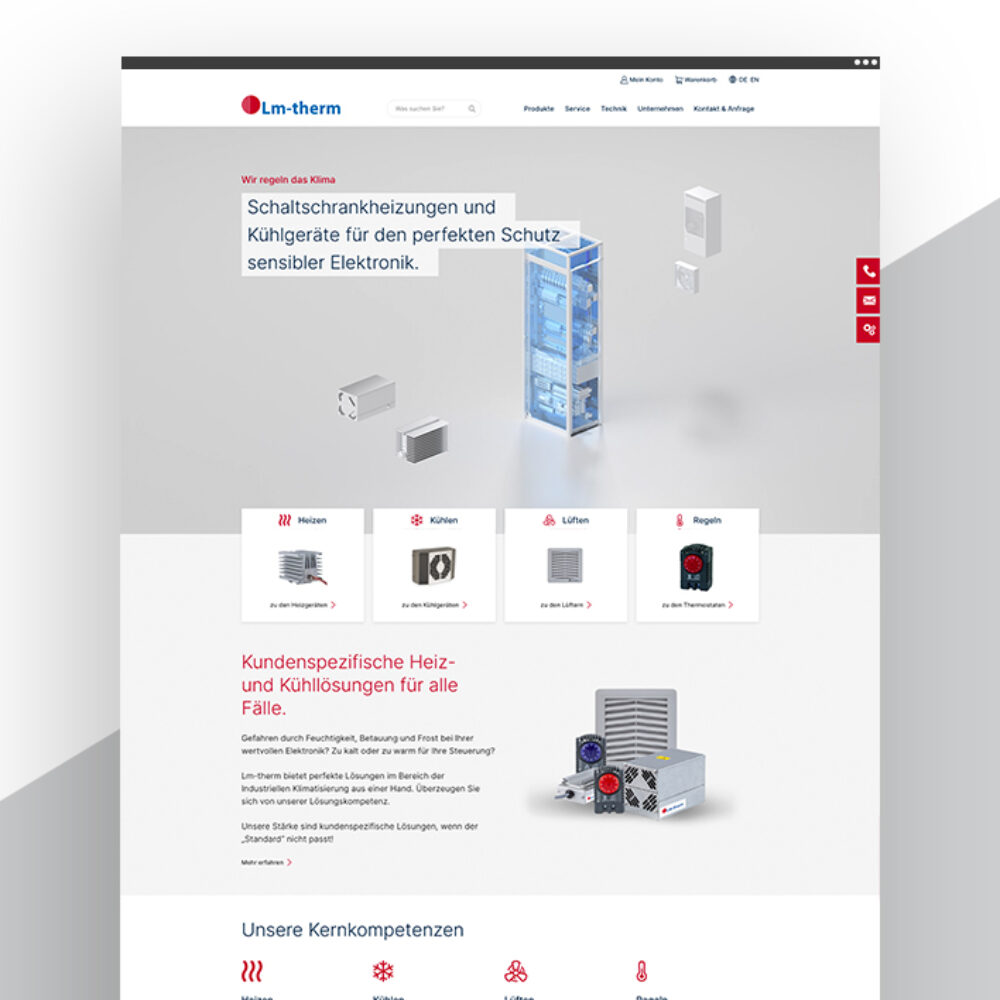 Lm-therm Website und WooCommerce Shop Startbildschirm Header