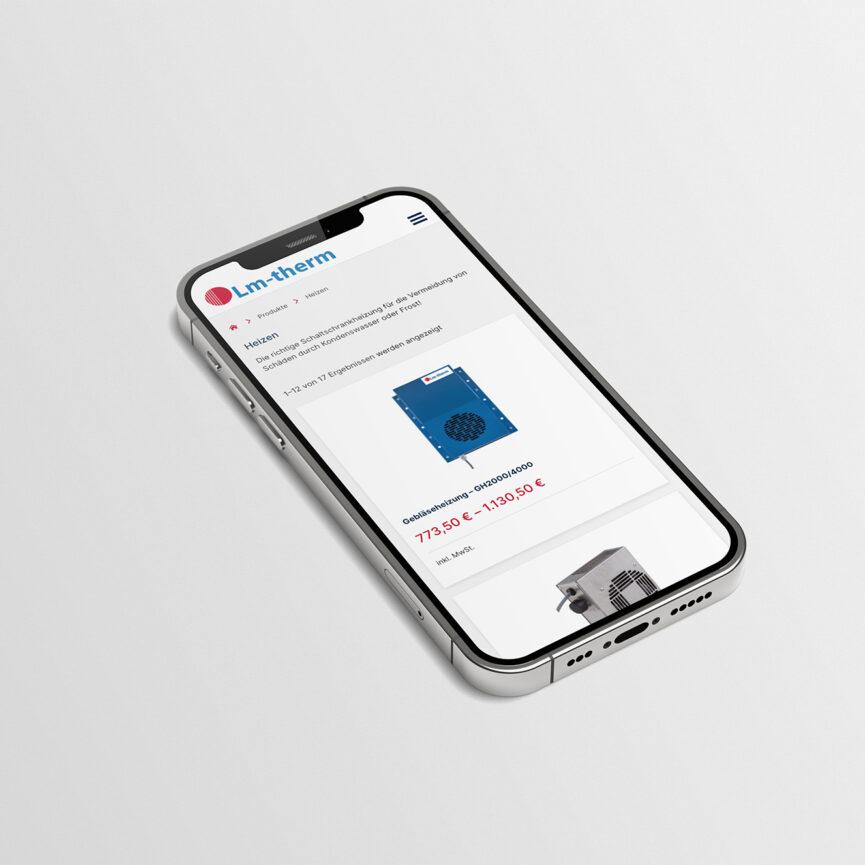 Lm-therm Website und WooCommerce Shop Mobilansicht Produktseite