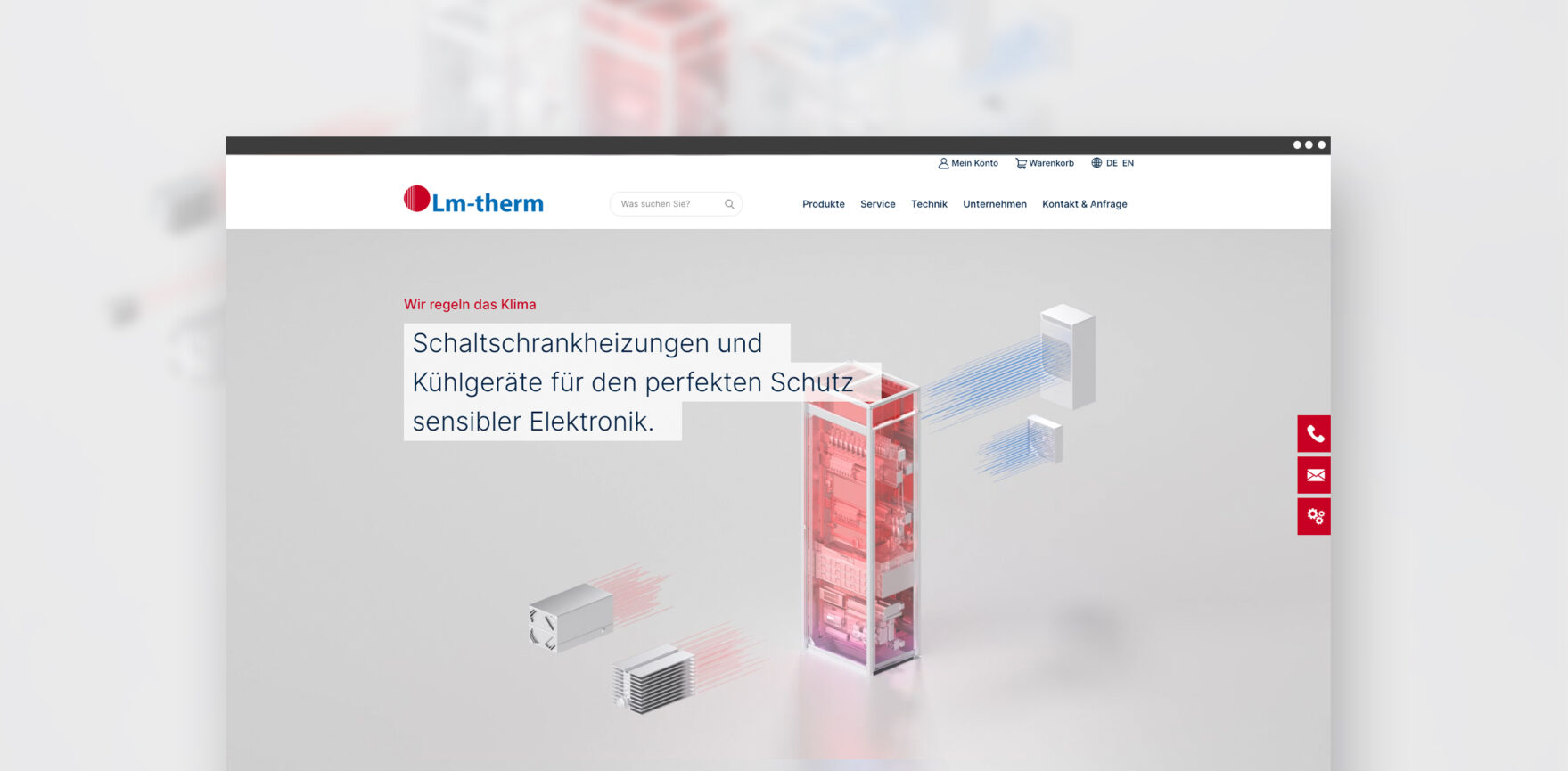 Lm-therm Website und WooCommerce Shop Header mit Animation