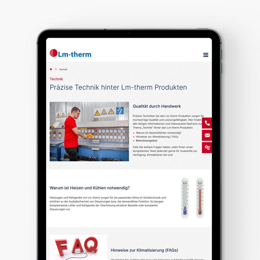 Lm-therm Website und WooCommerce Shop Tabletansicht Unterseite Technik
