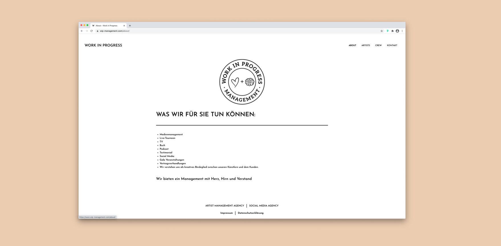 WordPress Website Work in Progress Management About Unterseite