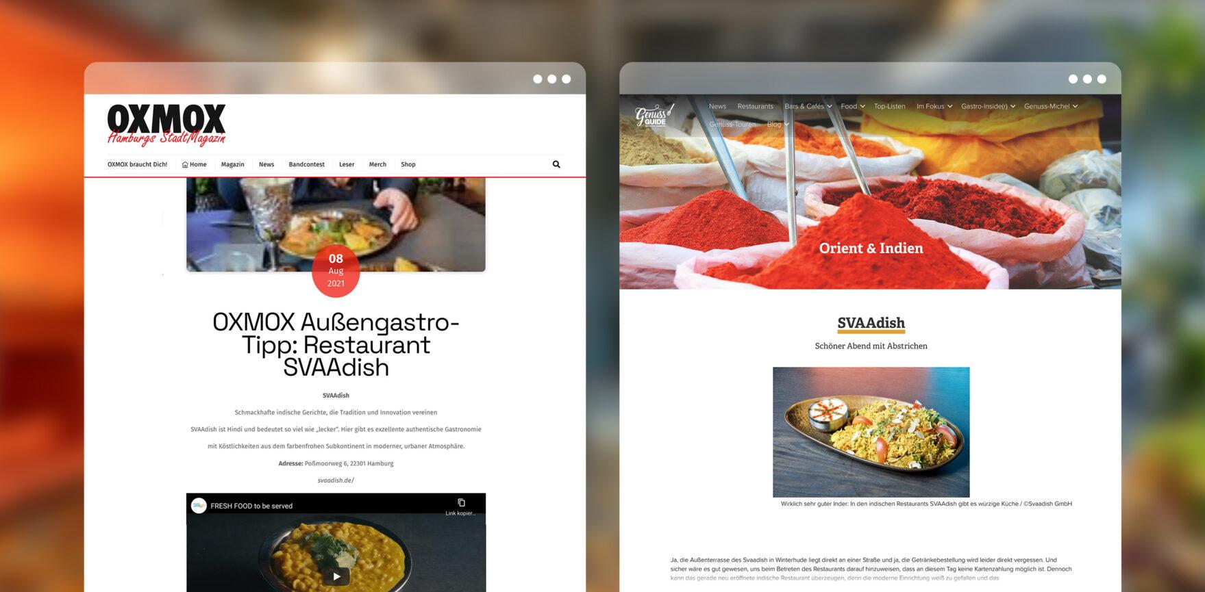 Online-Artikel Pressearbeit SVAAdish OXMOX und GenussGuide