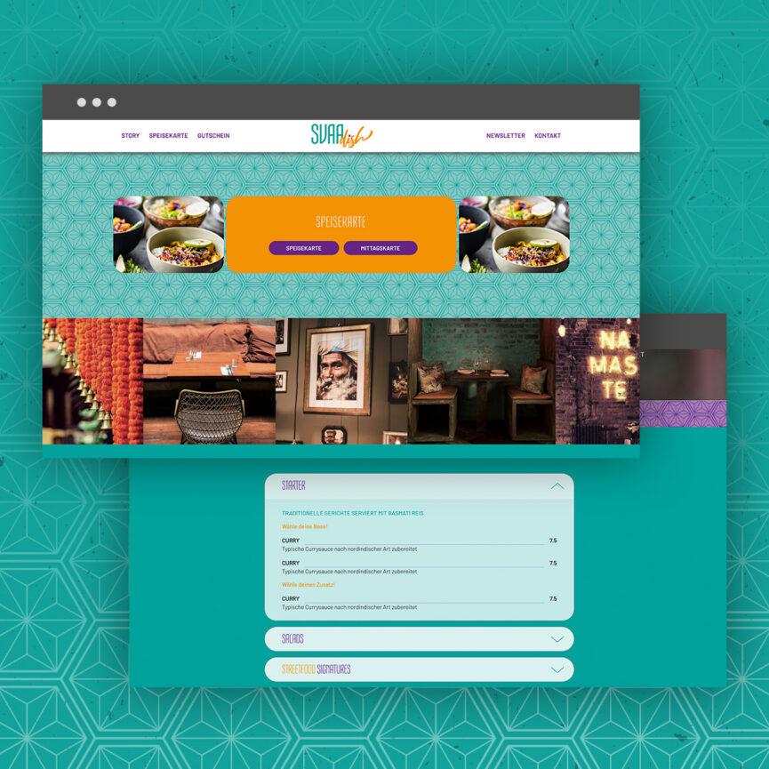 SVAAdish Branding Corporate Design Website Speisekarte