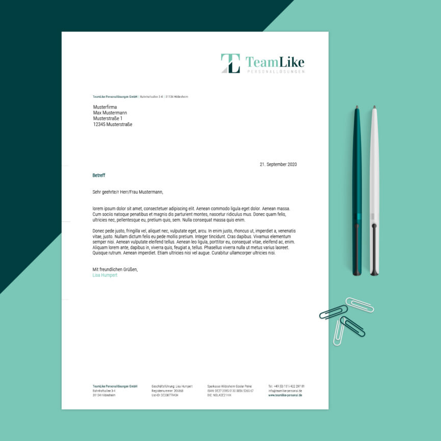 TeamLike Personalloesungen Corporate Design Geschaeftsbrief