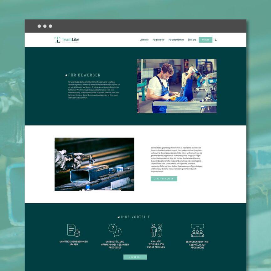 TeamLike Personalloesungen WordPress Website Unterseite Bewerber Desktop