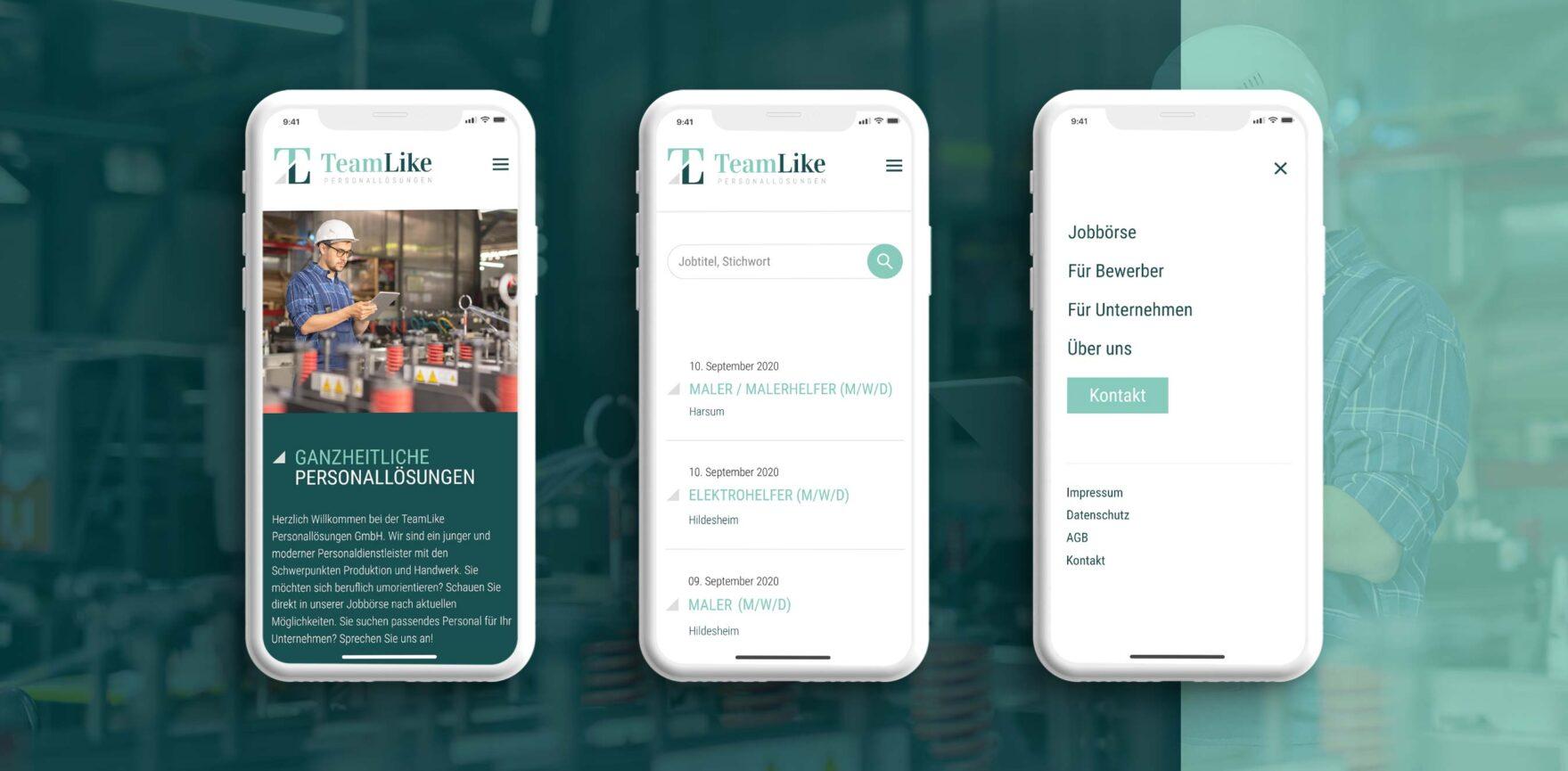 TeamLike WordPress Website auf Smartphone im responsive Design