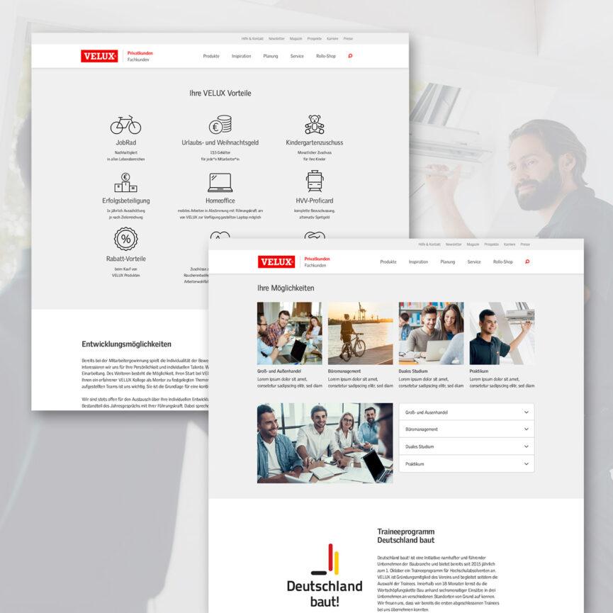 Webdesign VELUX Karriere Unterseite