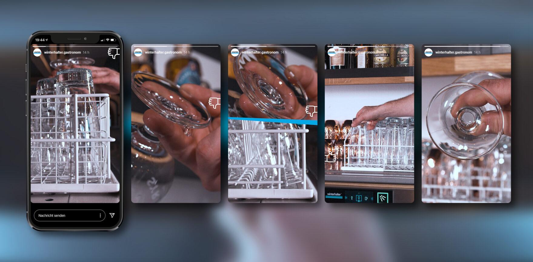 Winterhalter Social Media Clips Stills Geschirr Spüllmaschine