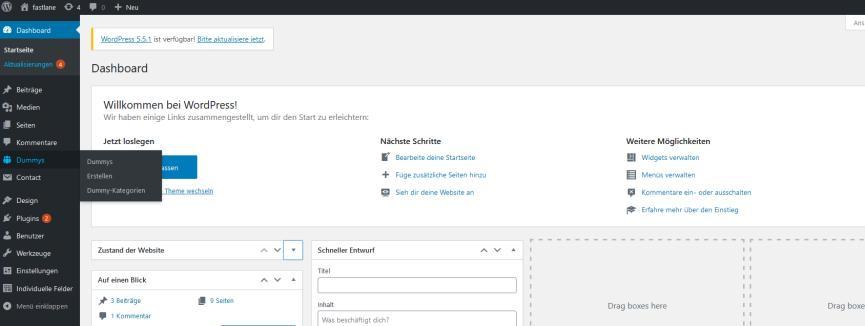 Screenshot aus WordPress Backend