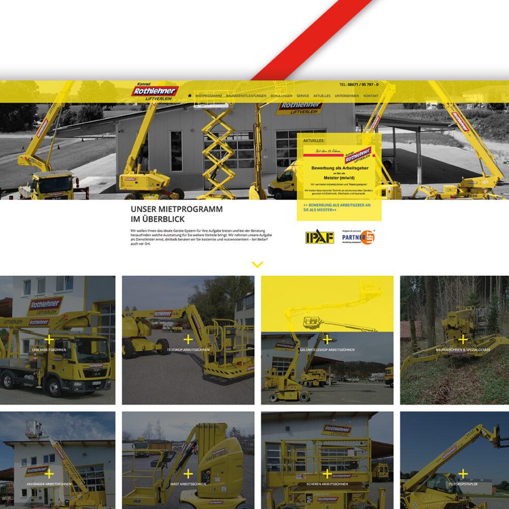Rothlehner Liftverleih Website Desktop