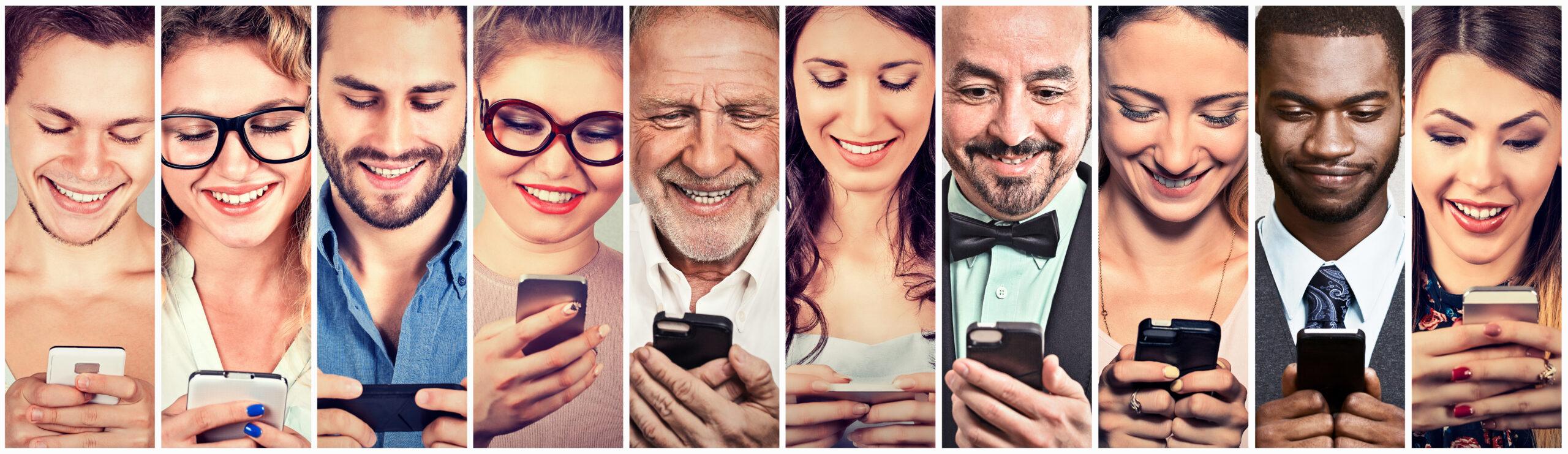 Menschen benutzen ihr Smartphone