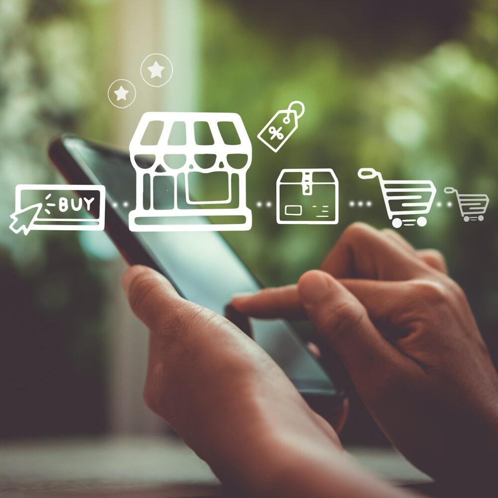 Mobiles Shoppen mit Icons