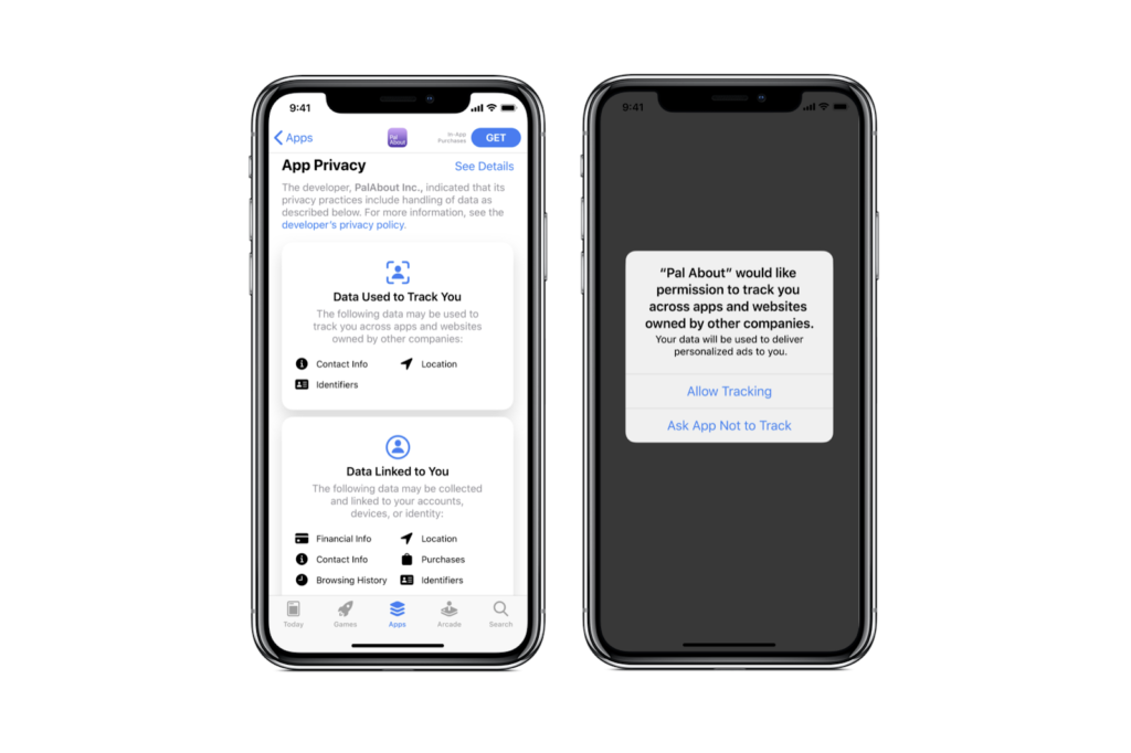 Datenschutz Opt-In Opt-Out in iOS 14 und App Store Page