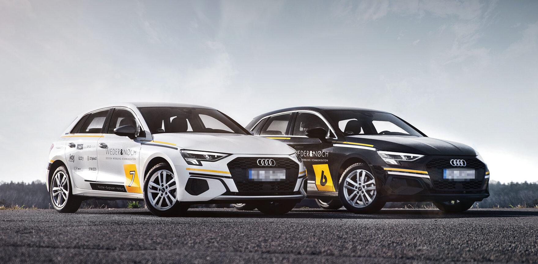 Weder & Noch Fahrzeugbeklebung Audi schwarz weiß