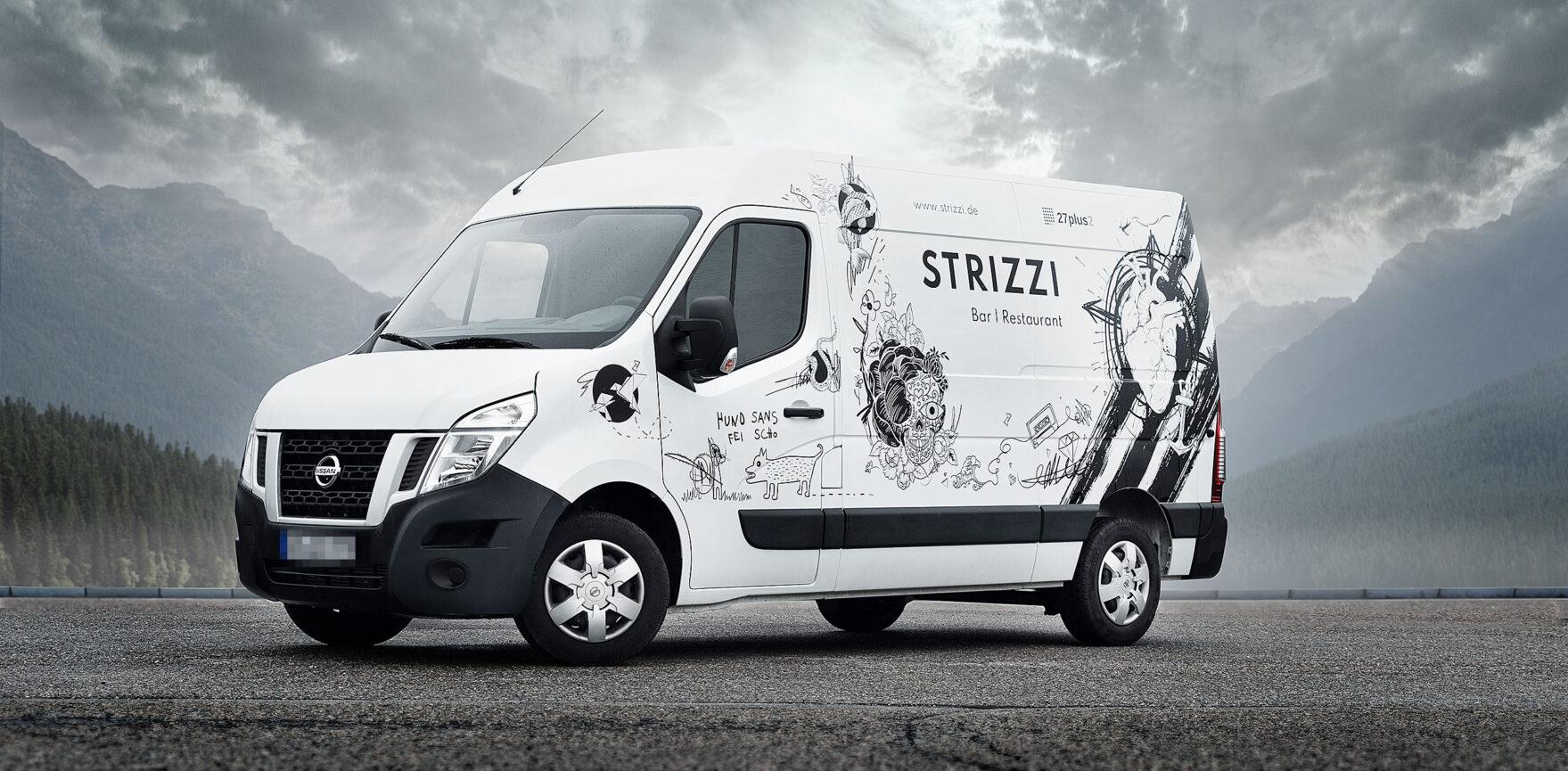 STRIZZI Fahrzeugbeklebung Transporter weiß Illustrationen vor Kulisse