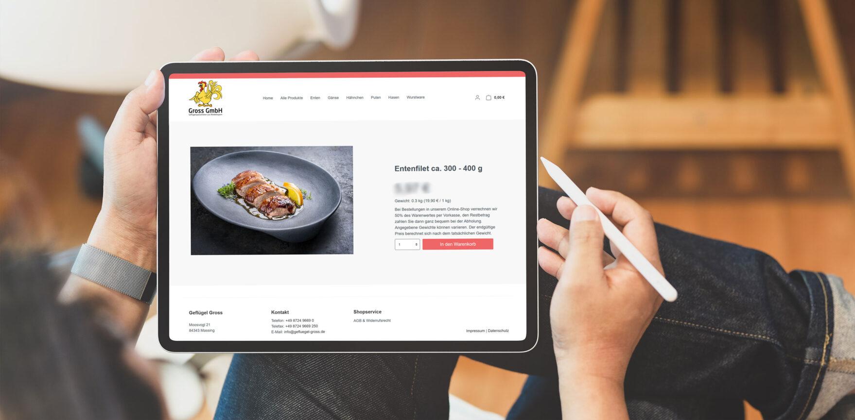 Geflügel Gross Shopware Online Shop iPad responsive
