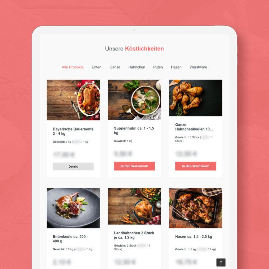 Geflügel Gross Shopware Online Shop Startseite iPad