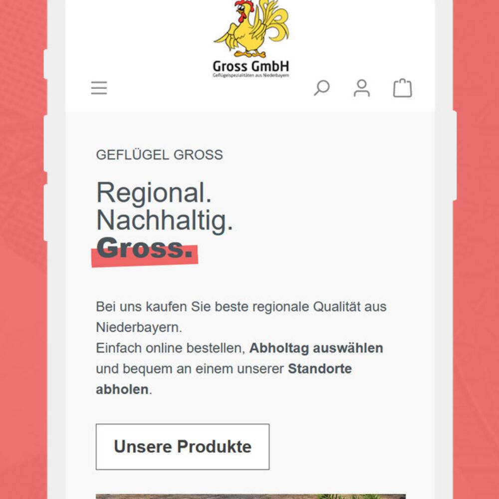 Geflügel Gross Shopware Online Shop Startseite iPhone