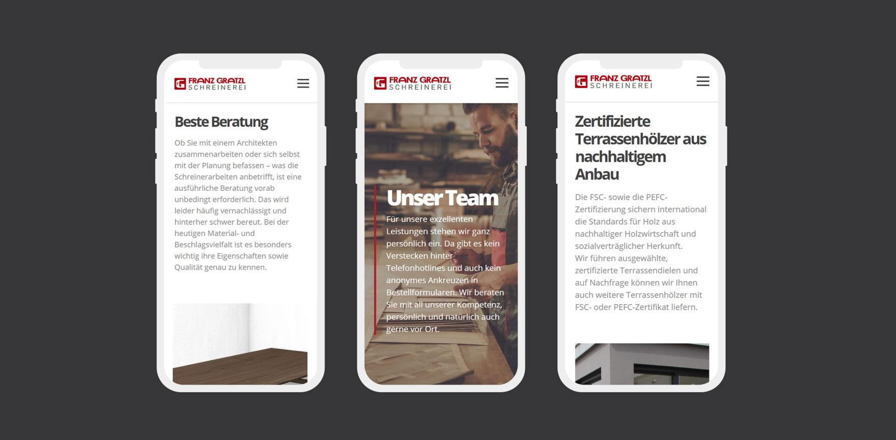 Webseite Franz Gratzl mobile Version