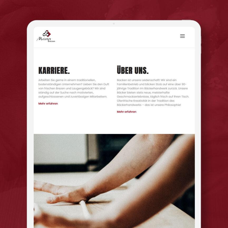 Meisterbrezen Website Relaunch iPad Startseite