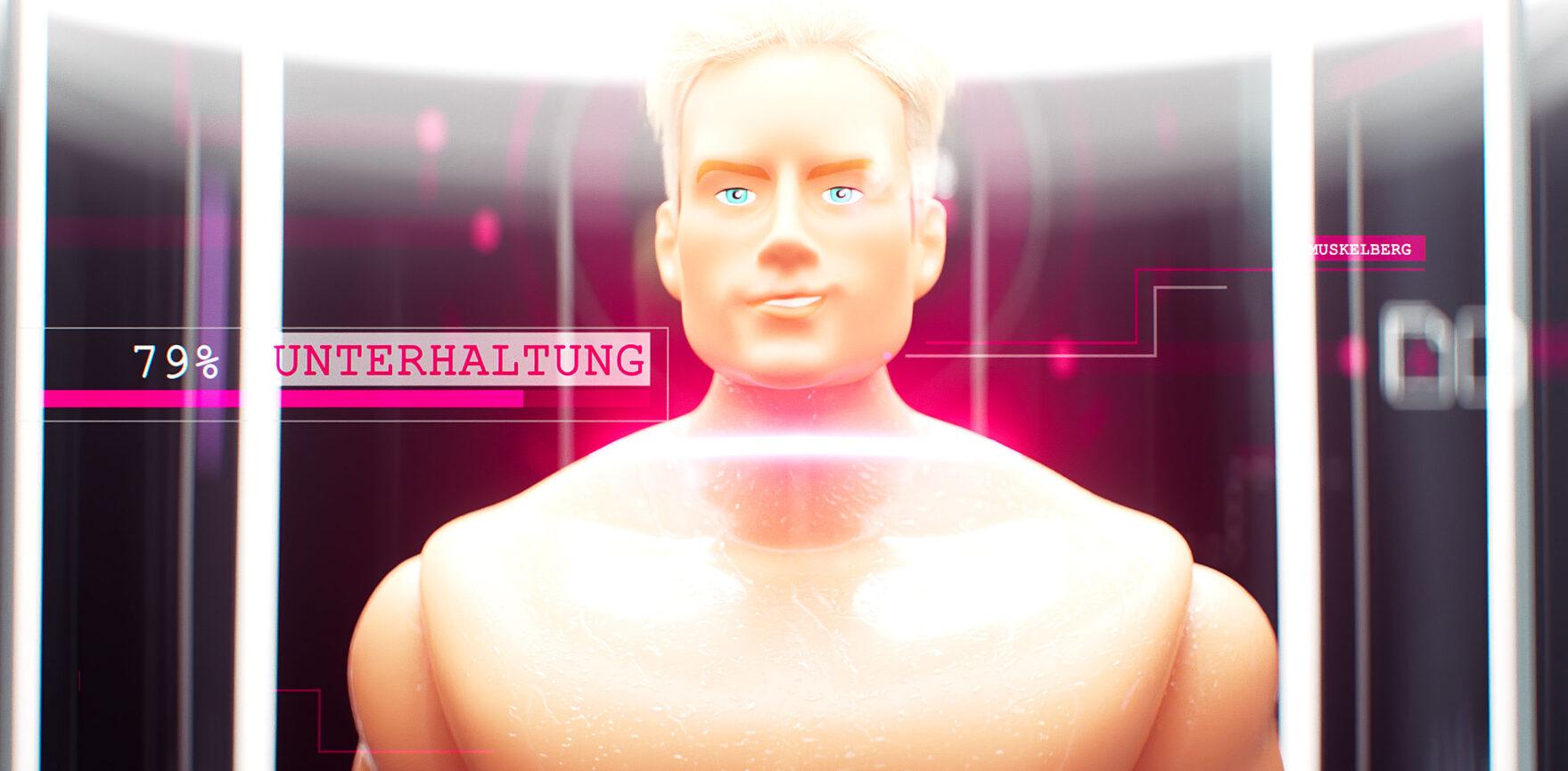 Promi Big Brother On-Air-Kampagne Scanner Puppe Halbtotale