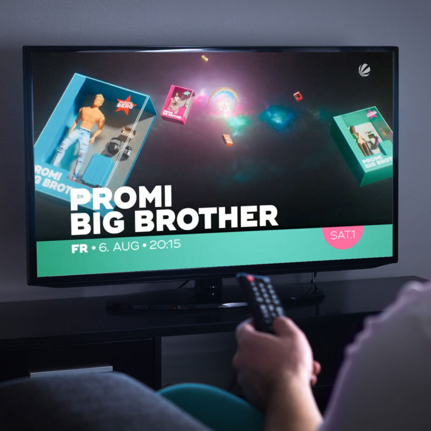 Promi Big Brother On-Air-Kampagne TV Screen Abbinder