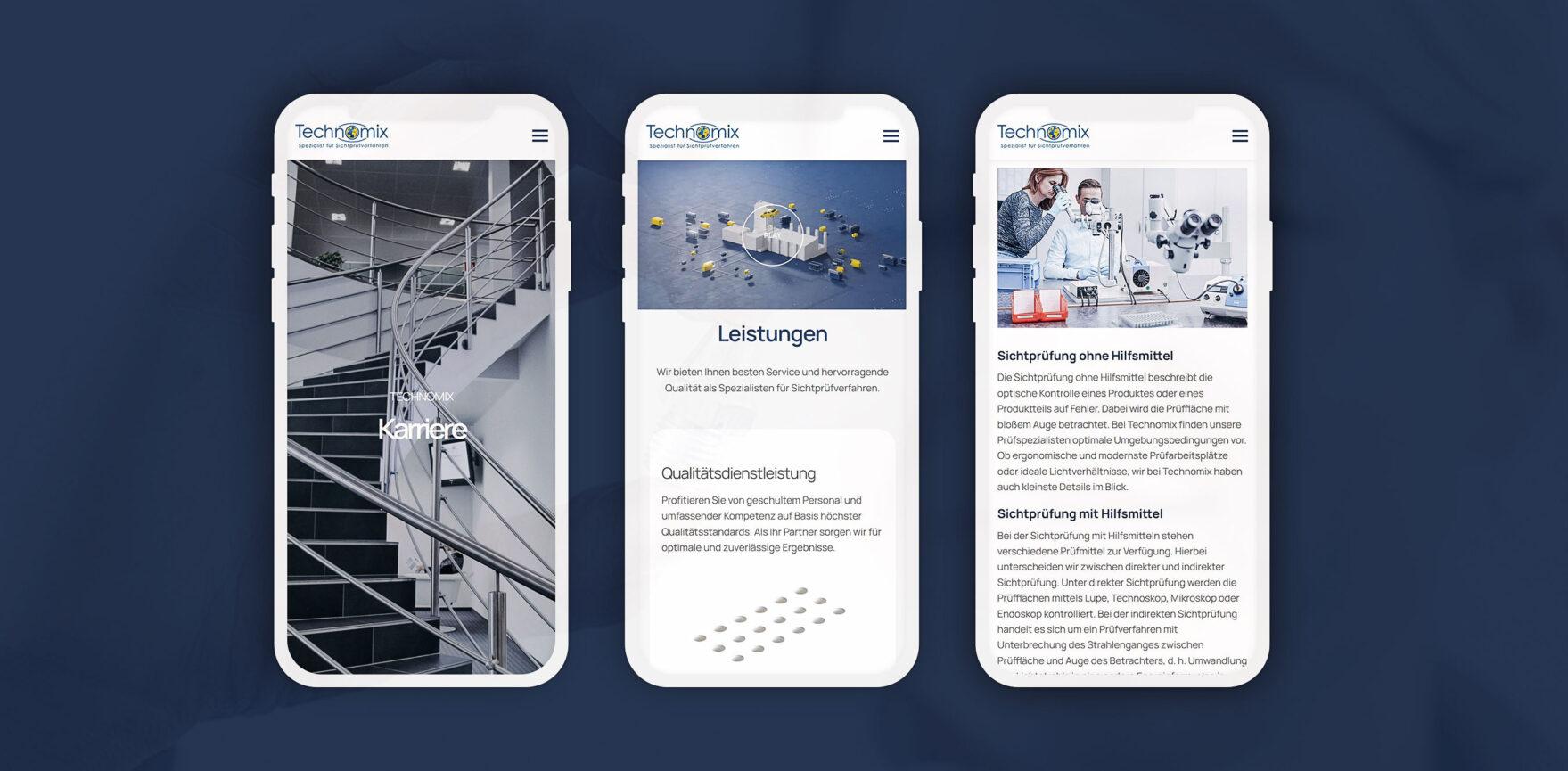 Website Relaunch Technomix AG mobile Ansichten