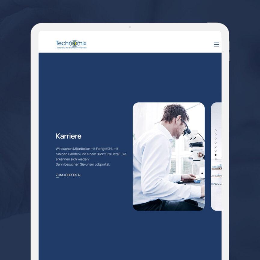 Website Relaunch Technomix AG iPad Version