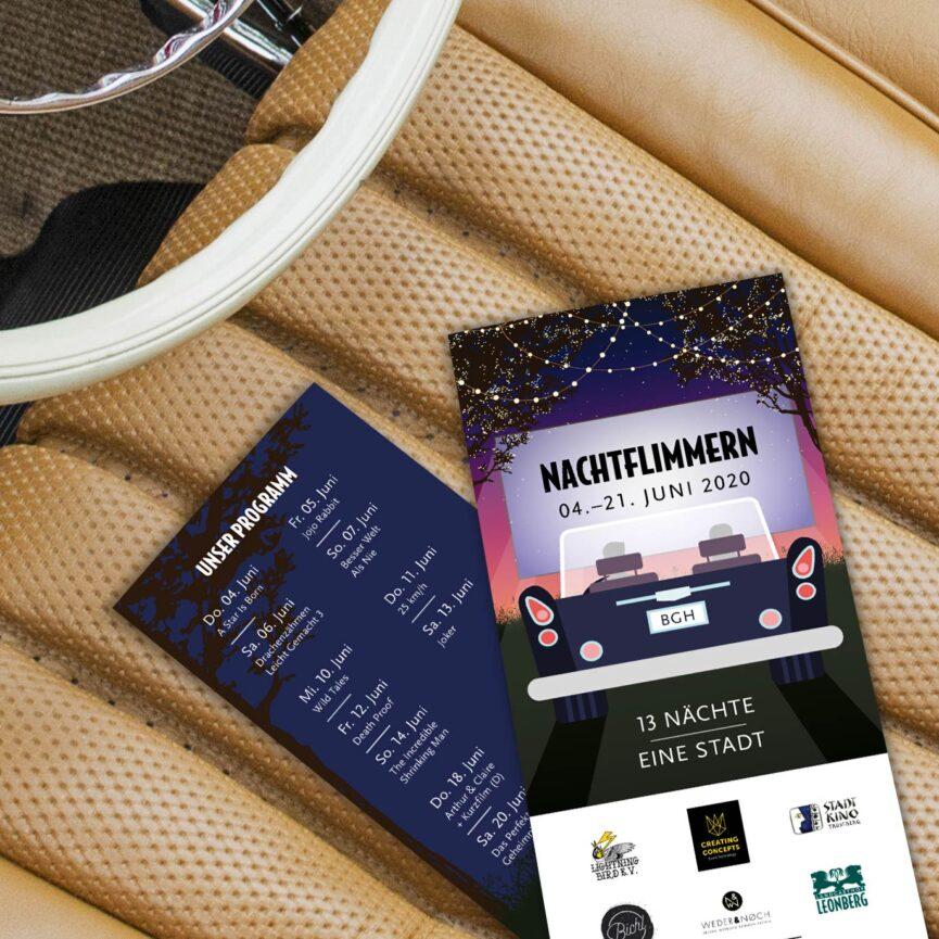 Nachtflimmern - Autokino in Burghausen Programm Flyer