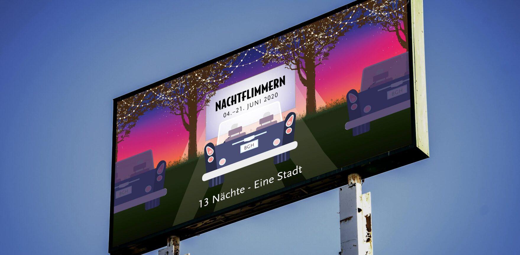 Nachtflimmern - Autokino in Burghausen-Großflaeche Plakat OOH Werbung