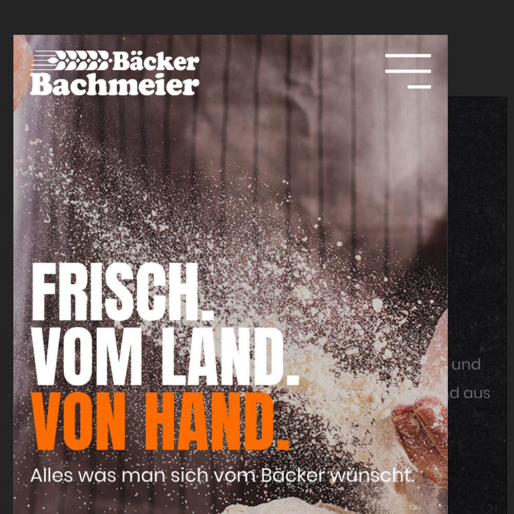 Bäckerei Bachmeier Website Startseite mobile
