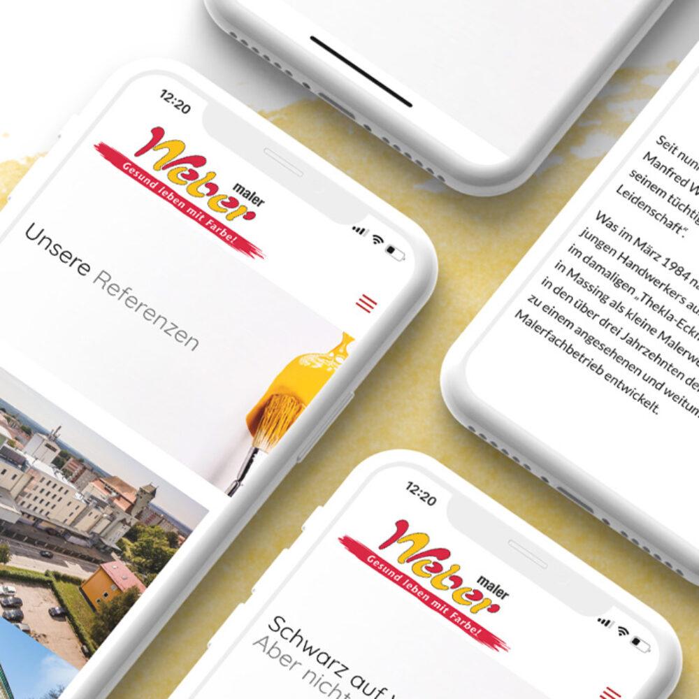 Maler Weber Website Relaunch in der mobilen Ansicht Bereich Referenzen und Spritzlackieren