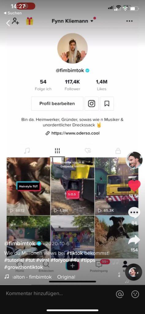 TikTok Account von Fynn Kliemann