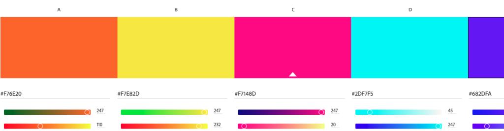 Screenshot des Onlinetools Adobe Color
