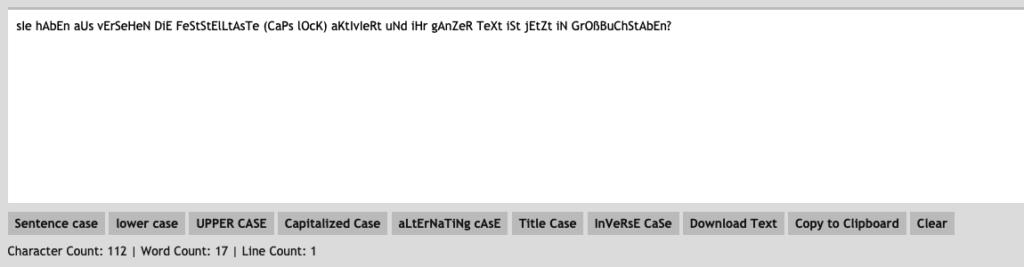 Screenshot des Onlinetools ConvertCase
