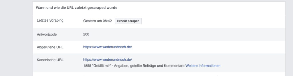 Screenshot des Onlinetools Facebook Sharing Debugger