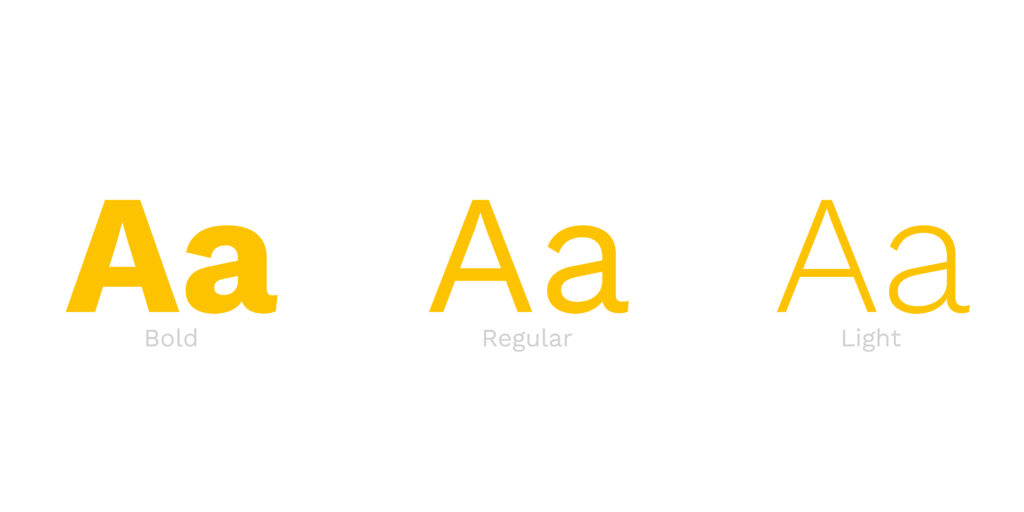 Variable Fonts - Buchstabe A in bold, regular und light