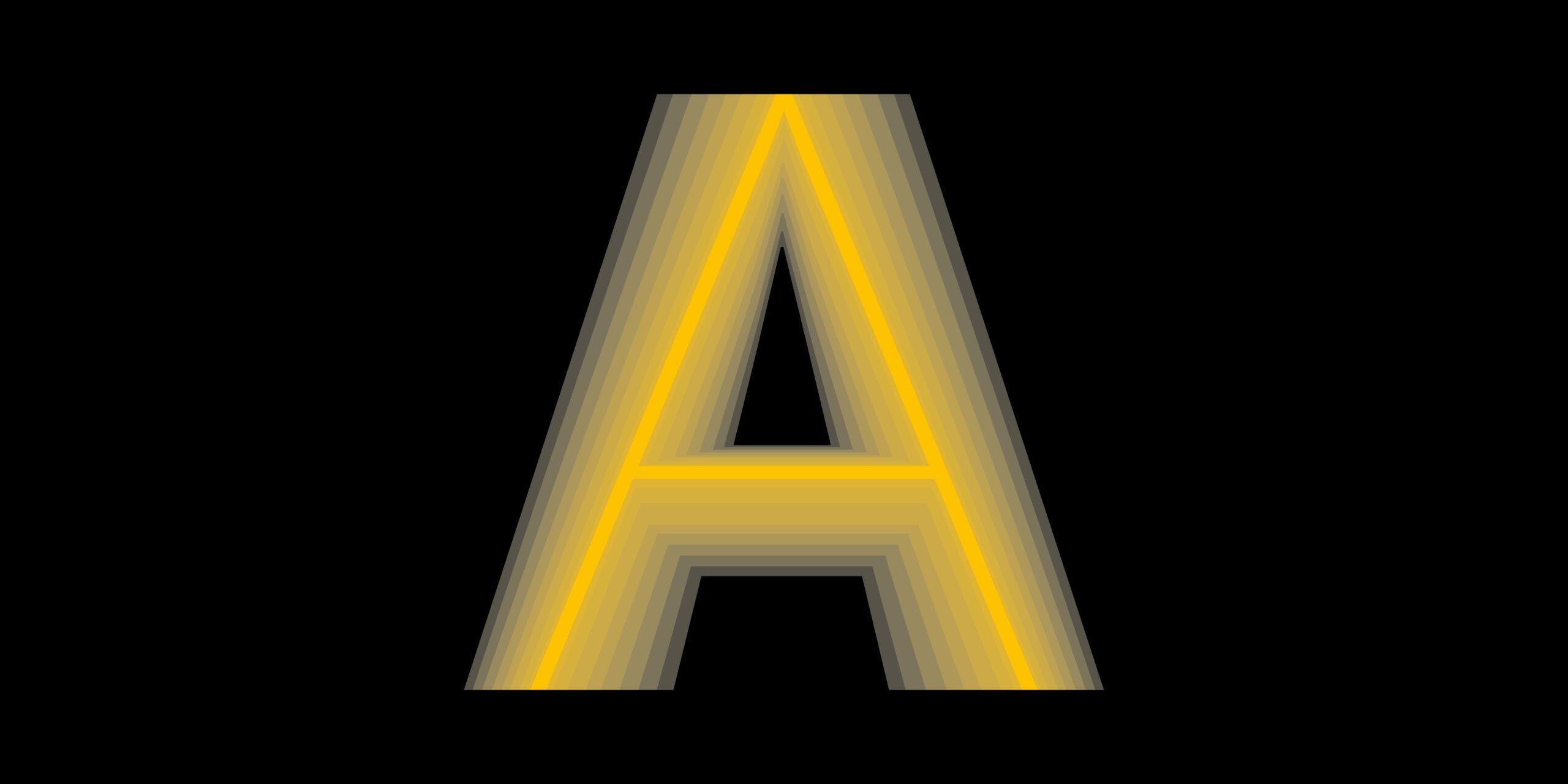 Variable Fonts - Buchstabe A mit verschwommenen Konturen