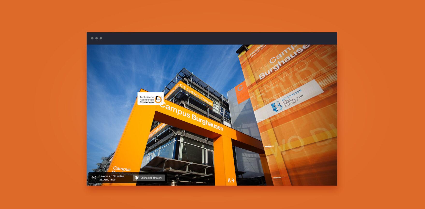 Virtueller Tag der offenen Tuer Campus Burghausen Gebaeude Aula orange
