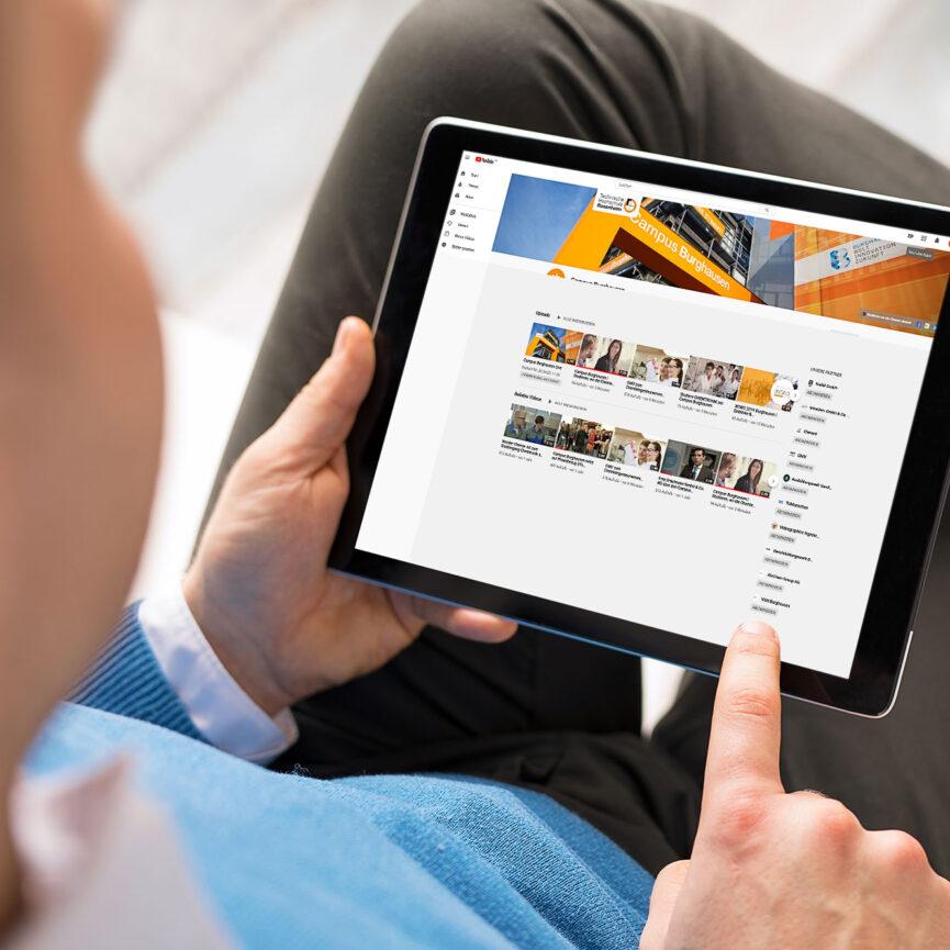 Virtueller Tag der offenen Tuer Campus Burghausen Tablet Ansicht