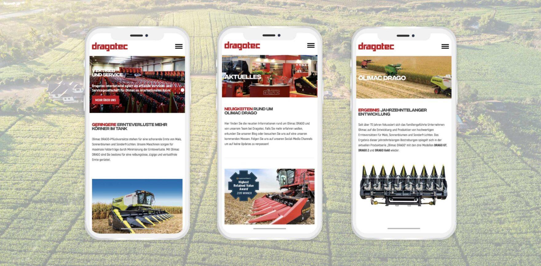 Dragotec Website Relaunch mobile Ansicht auf Smartphone responsive Design