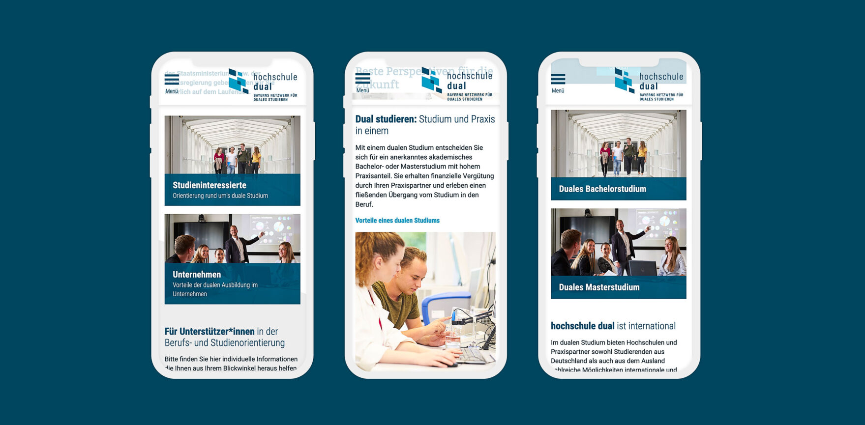 hochschule dual Website Relaunch mobile Ansicht